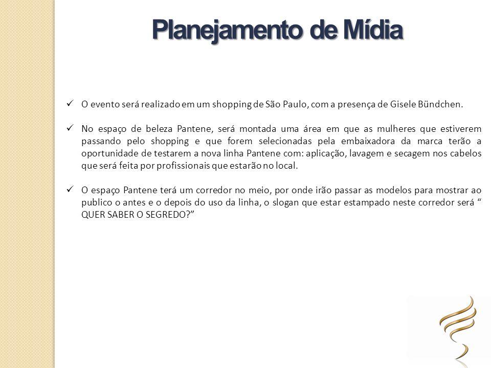 Planejamento de Mídia O evento será realizado em um shopping de São Paulo, com a presença de Gisele Bündchen. No espaço de beleza Pantene, será montad