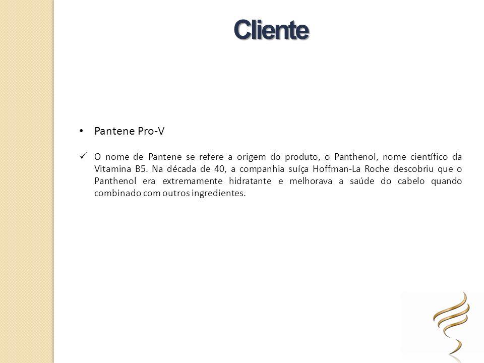 Pantene Pro-V O nome de Pantene se refere a origem do produto, o Panthenol, nome científico da Vitamina B5. Na década de 40, a companhia suíça Hoffman