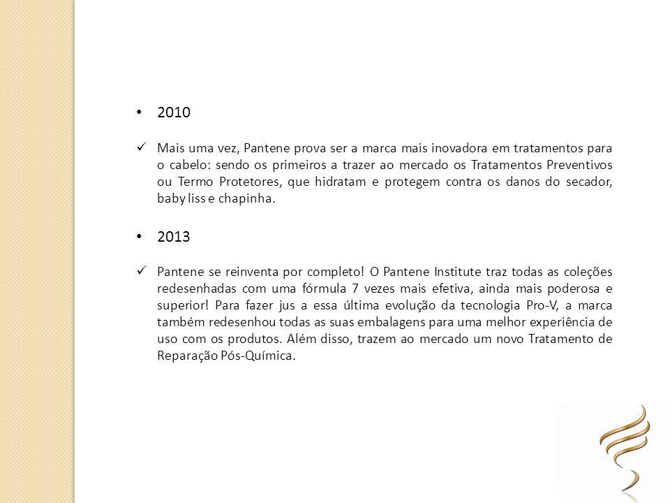 2010 Mais uma vez, Pantene prova ser a marca mais inovadora em tratamentos para o cabelo: sendo os primeiros a trazer ao mercado os Tratamentos Preven