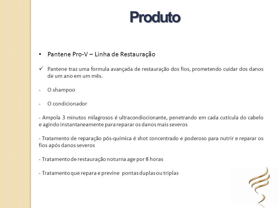 Pantene Pro-V – Linha de Restauração Pantene traz uma formula avançada de restauração dos fios, prometendo cuidar dos danos de um ano em um mês. -O sh