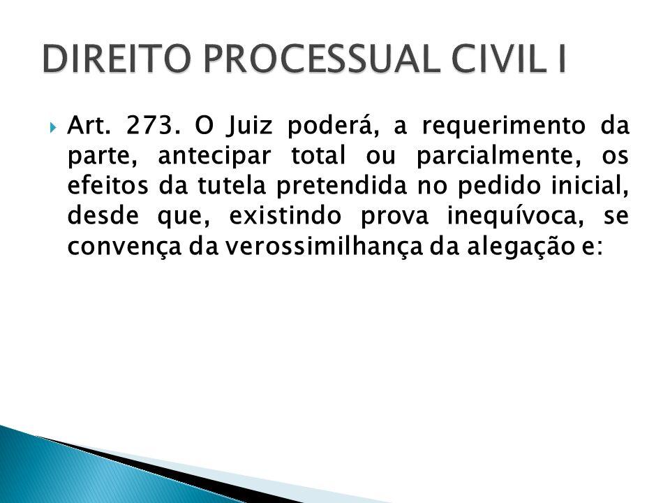 Art. 273. O Juiz poderá, a requerimento da parte, antecipar total ou parcialmente, os efeitos da tutela pretendida no pedido inicial, desde que, exist