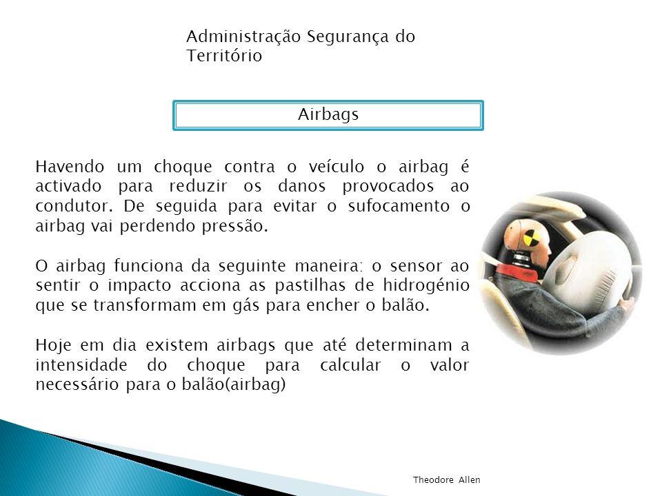 Administração Segurança do Território Airbags Havendo um choque contra o veículo o airbag é activado para reduzir os danos provocados ao condutor. De