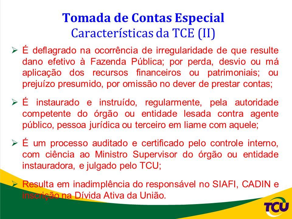 Tomada de Contas Especial Características da TCE (II) É deflagrado na ocorrência de irregularidade de que resulte dano efetivo à Fazenda Pública; por