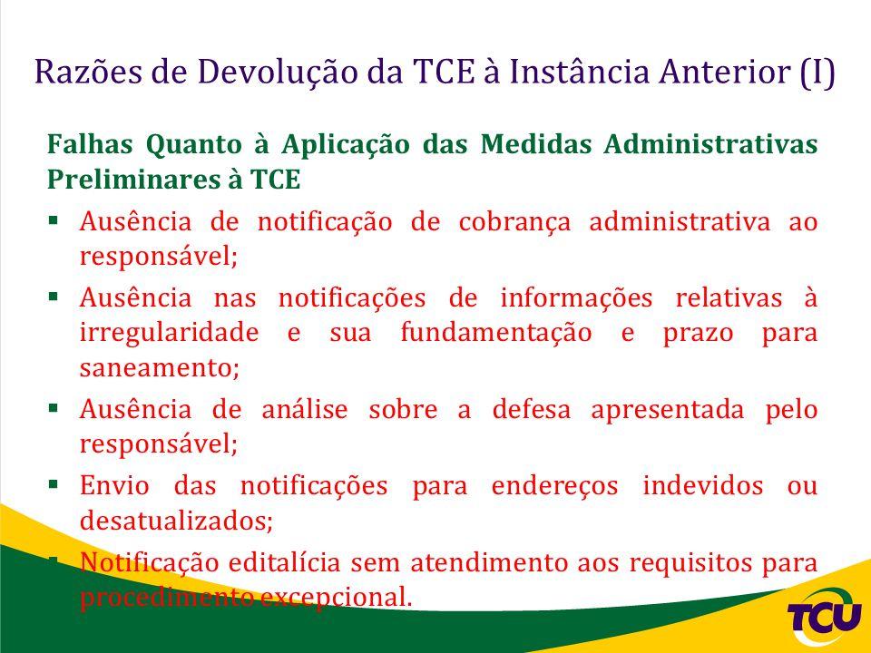 Razões de Devolução da TCE à Instância Anterior (I) Falhas Quanto à Aplicação das Medidas Administrativas Preliminares à TCE Ausência de notificação d