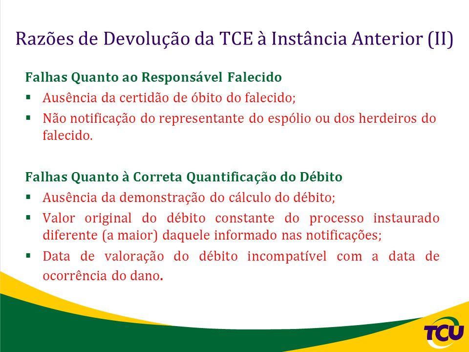 Razões de Devolução da TCE à Instância Anterior (II) Falhas Quanto ao Responsável Falecido Ausência da certidão de óbito do falecido; Não notificação
