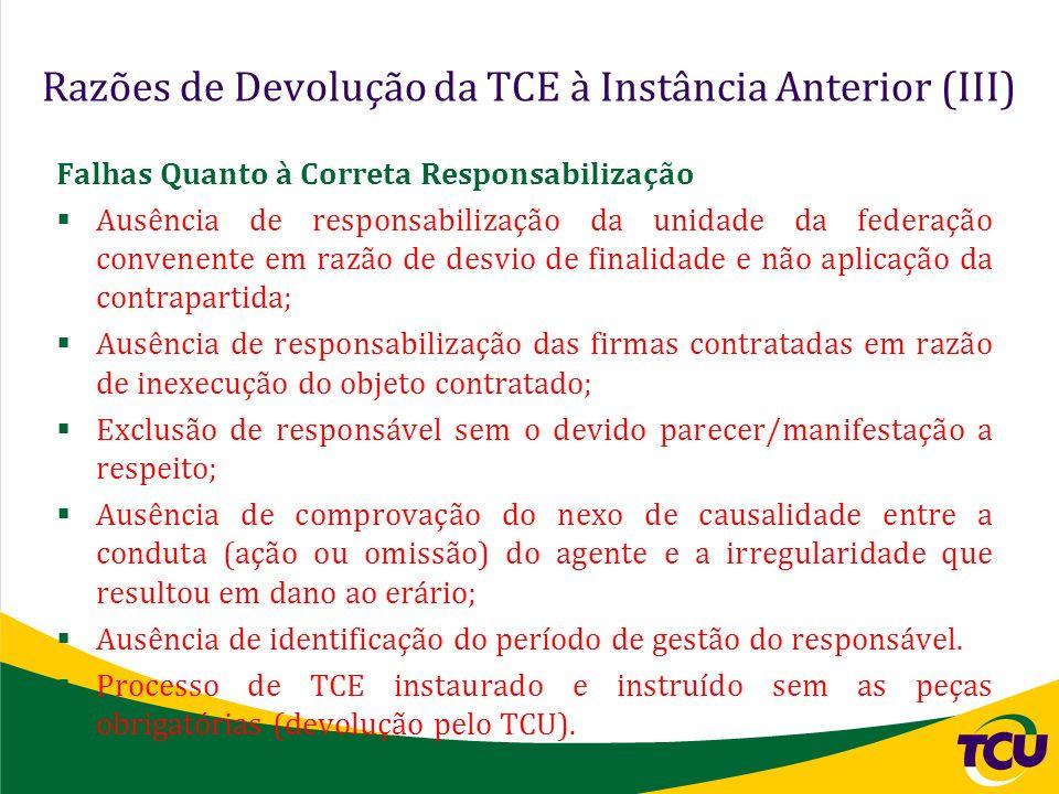 Razões de Devolução da TCE à Instância Anterior (III) Falhas Quanto à Correta Responsabilização Ausência de responsabilização da unidade da federação