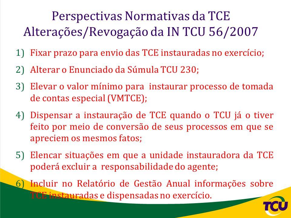 Perspectivas Normativas da TCE Alterações/Revogação da IN TCU 56/2007 1)Fixar prazo para envio das TCE instauradas no exercício; 2)Alterar o Enunciado