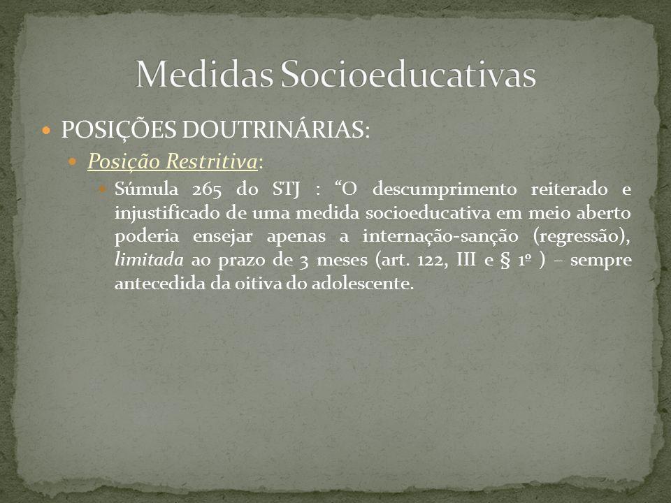 POSIÇÕES DOUTRINÁRIAS: Posição Restritiva: Súmula 265 do STJ : O descumprimento reiterado e injustificado de uma medida socioeducativa em meio aberto