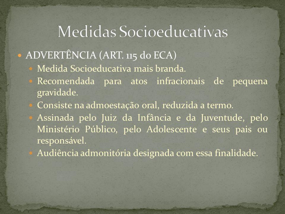 ADVERTÊNCIA (ART. 115 do ECA) Medida Socioeducativa mais branda. Recomendada para atos infracionais de pequena gravidade. Consiste na admoestação oral