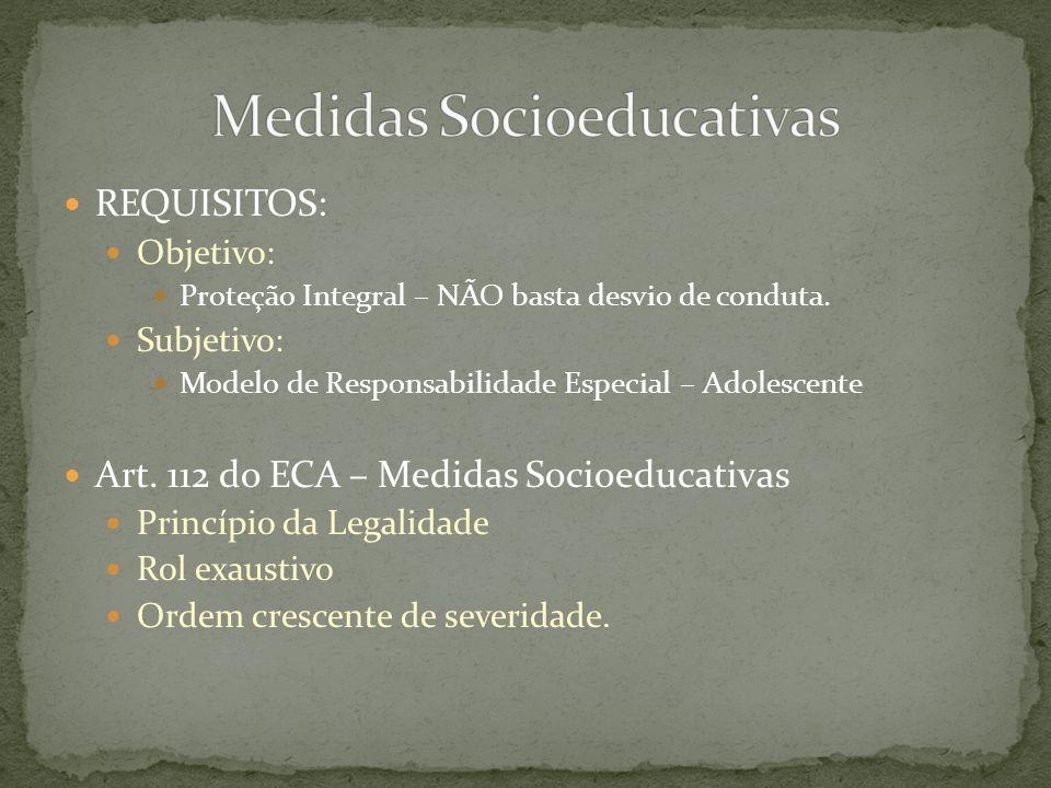 REQUISITOS: Objetivo: Proteção Integral – NÃO basta desvio de conduta. Subjetivo: Modelo de Responsabilidade Especial – Adolescente Art. 112 do ECA –