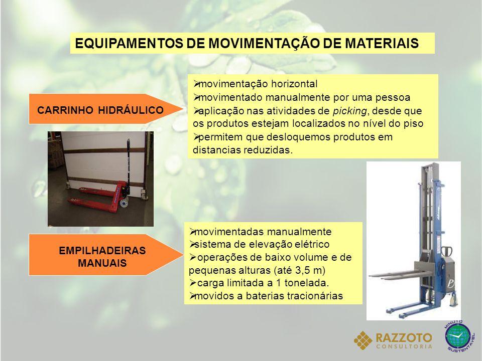 EQUIPAMENTOS DE MOVIMENTAÇÃO DE MATERIAIS CARRINHO HIDRÁULICO movimentação horizontal movimentado manualmente por uma pessoa aplicação nas atividades