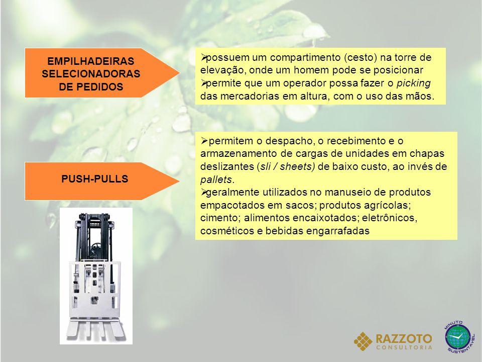 EMPILHADEIRAS SELECIONADORAS DE PEDIDOS possuem um compartimento (cesto) na torre de elevação, onde um homem pode se posicionar permite que um operado