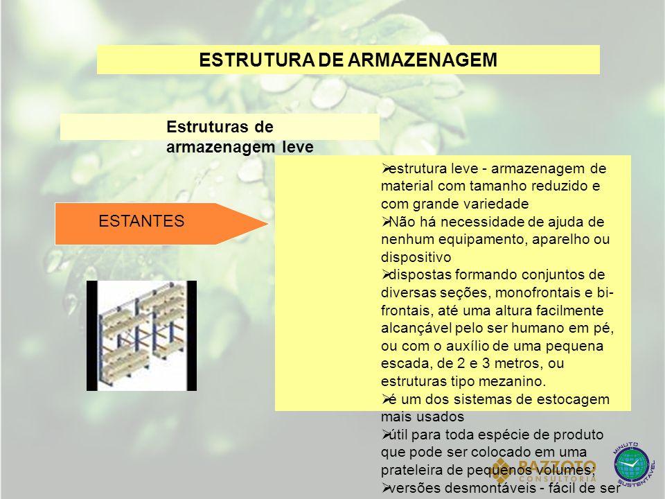 ESTRUTURA DE ARMAZENAGEM Estruturas de armazenagem leve estrutura leve - armazenagem de material com tamanho reduzido e com grande variedade Não há ne