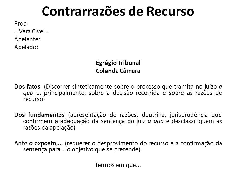 Contrarrazões de Recurso Proc....Vara Cível... Apelante: Apelado: Egrégio Tribunal Colenda Câmara Dos fatos (Discorrer sinteticamente sobre o processo