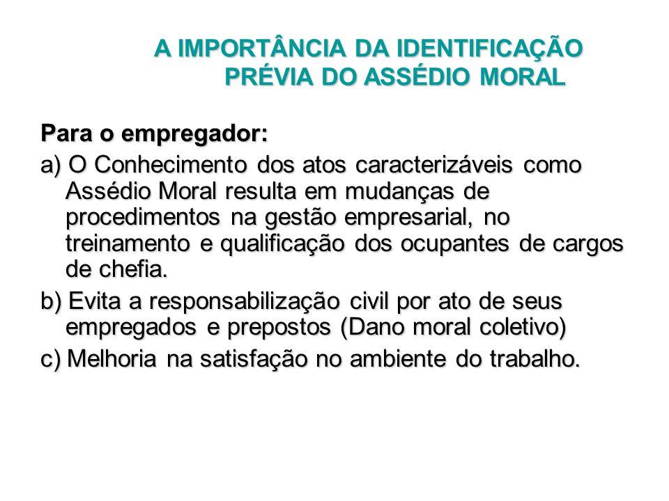 A IMPORTÂNCIA DA IDENTIFICAÇÃO PRÉVIA DO ASSÉDIO MORAL A IMPORTÂNCIA DA IDENTIFICAÇÃO PRÉVIA DO ASSÉDIO MORAL Para o empregador: a) O Conhecimento dos