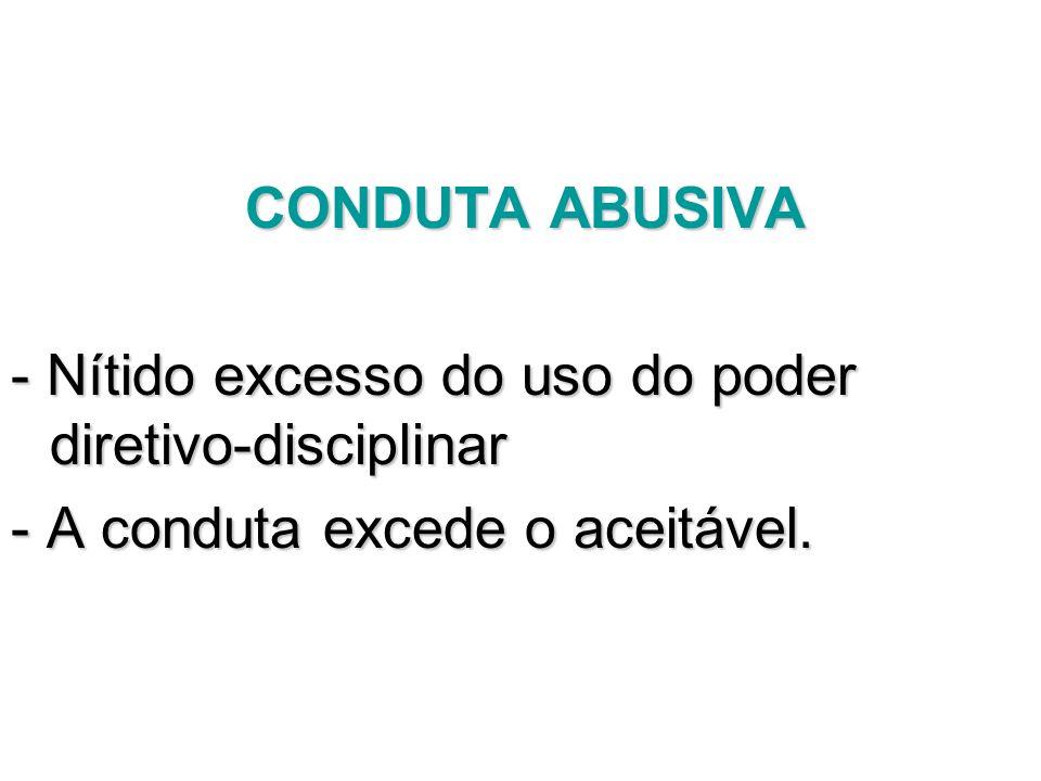 CONDUTA ABUSIVA - Nítido excesso do uso do poder diretivo-disciplinar - A conduta excede o aceitável.