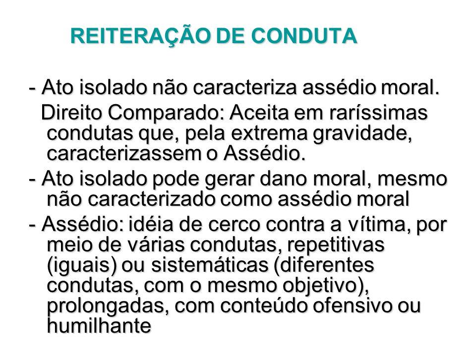 REITERAÇÃO DE CONDUTA REITERAÇÃO DE CONDUTA - Ato isolado não caracteriza assédio moral. Direito Comparado: Aceita em raríssimas condutas que, pela ex