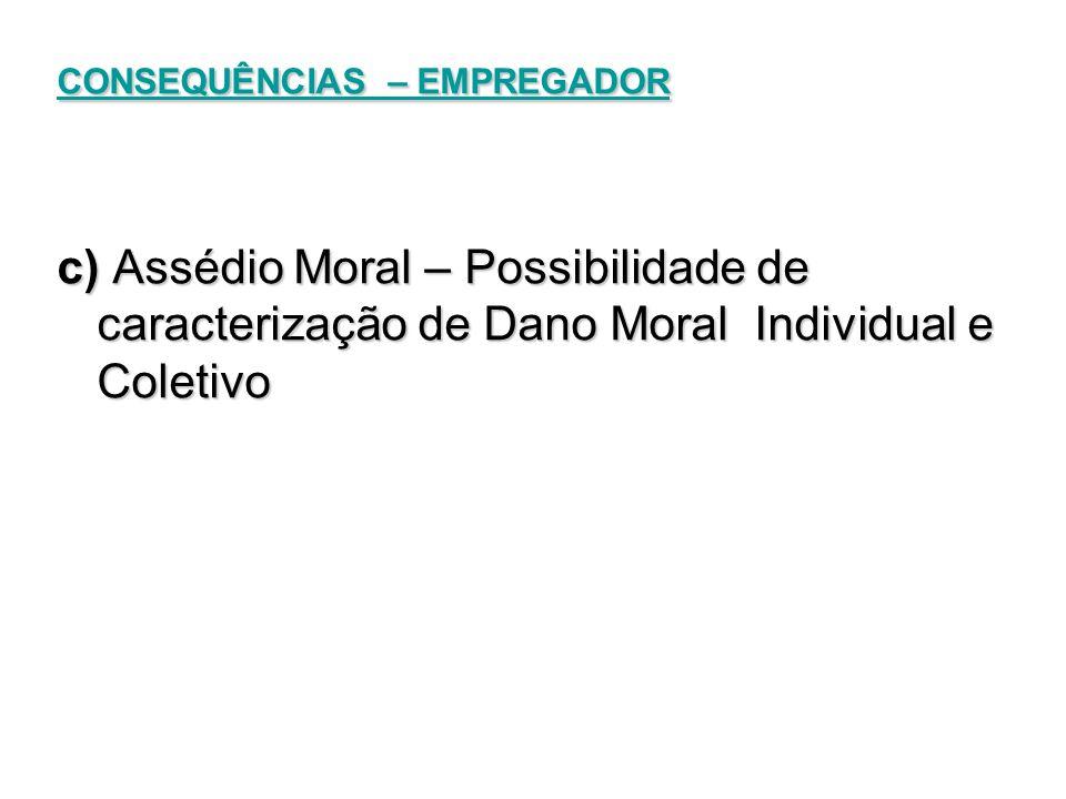 CONSEQUÊNCIAS – EMPREGADOR c) Assédio Moral – Possibilidade de caracterização de Dano Moral Individual e Coletivo