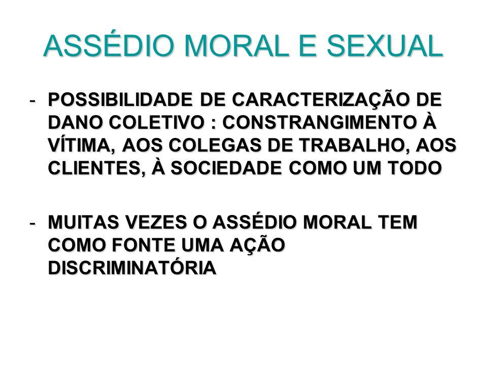 ASSÉDIO MORAL E SEXUAL -POSSIBILIDADE DE CARACTERIZAÇÃO DE DANO COLETIVO : CONSTRANGIMENTO À VÍTIMA, AOS COLEGAS DE TRABALHO, AOS CLIENTES, À SOCIEDAD