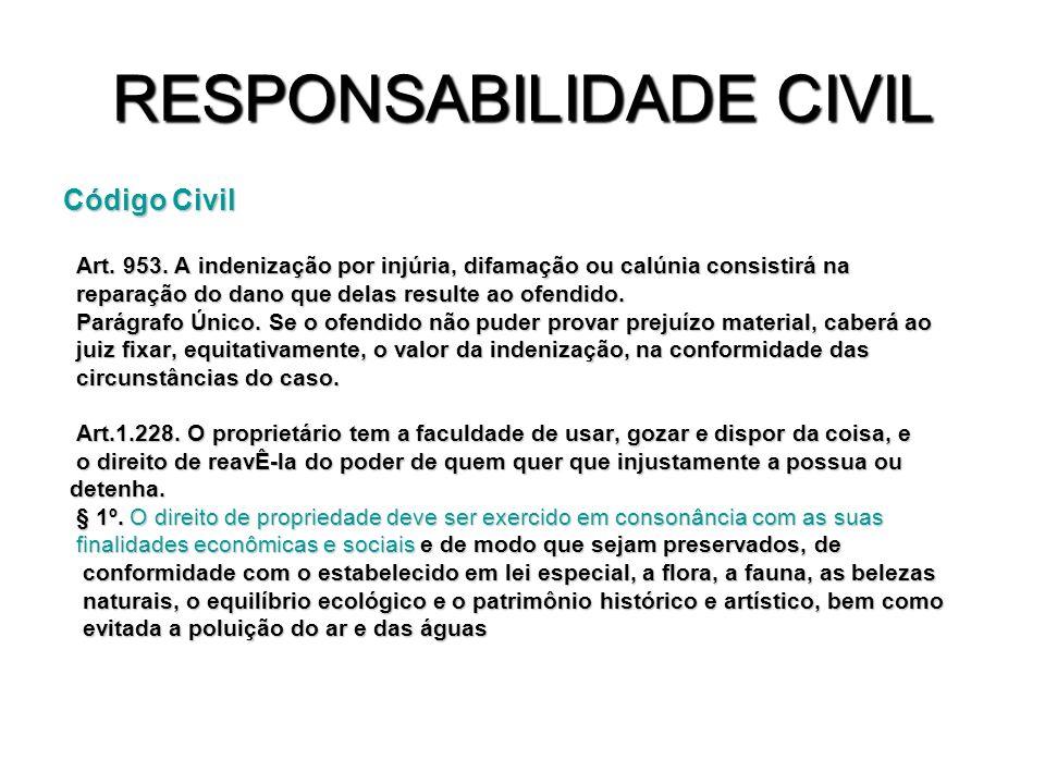 RESPONSABILIDADE CIVIL Código Civil Art. 953. A indenização por injúria, difamação ou calúnia consistirá na Art. 953. A indenização por injúria, difam