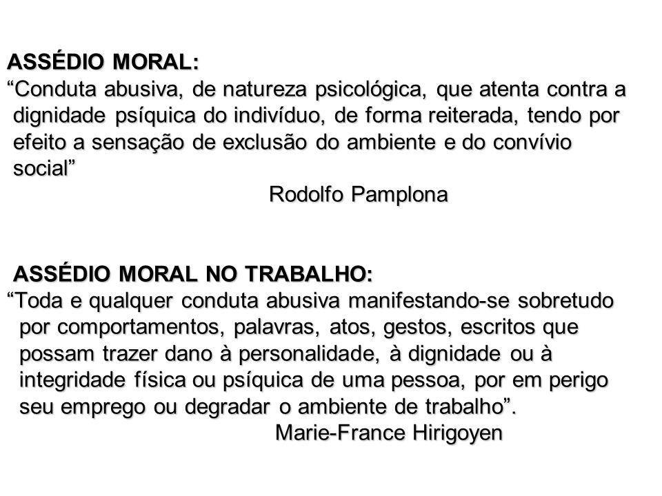 OUTRAS DENOMINAÇÕES DO ASSÉDIO MORAL: - Mobbing (Itália, Alemanha, Suécia e outros países escandinavos) - Bullying (Inglaterra) - Harassment (Estados Unidos) - Psicoterror ou acoso moral (Países de língua espanhola) espanhola)