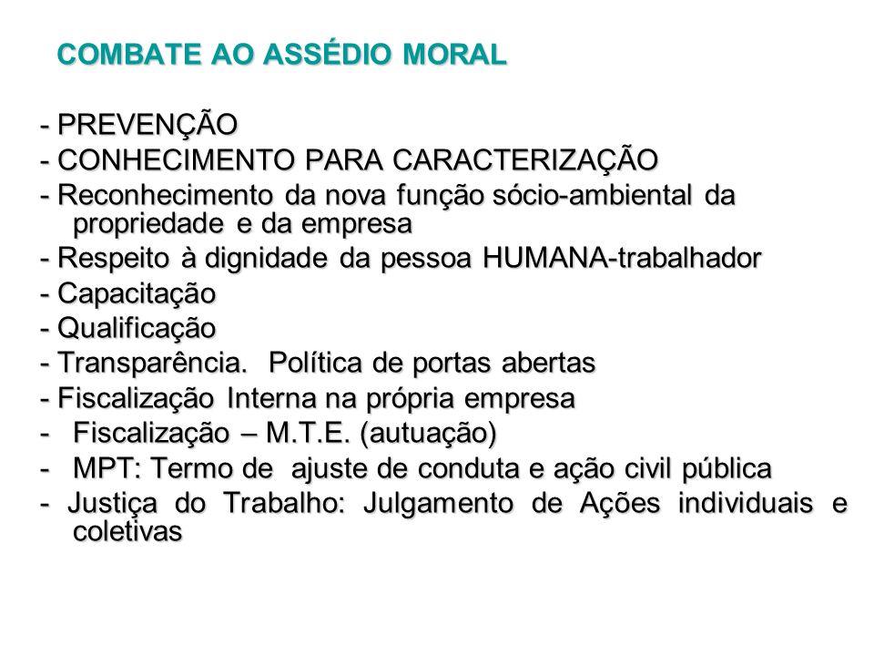 COMBATE AO ASSÉDIO MORAL COMBATE AO ASSÉDIO MORAL - PREVENÇÃO - CONHECIMENTO PARA CARACTERIZAÇÃO - Reconhecimento da nova função sócio-ambiental da pr