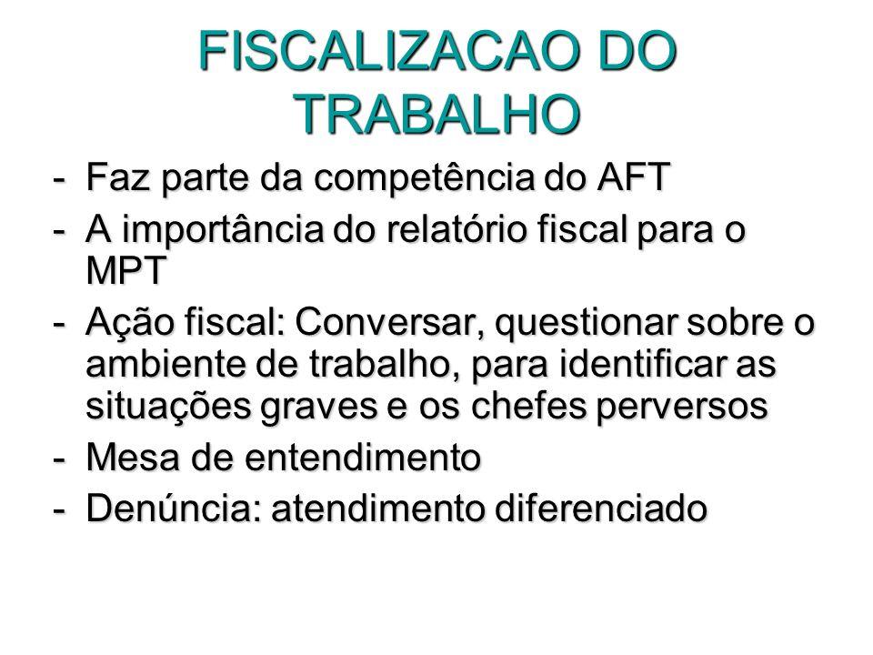 FISCALIZACAO DO TRABALHO -Faz parte da competência do AFT -A importância do relatório fiscal para o MPT -Ação fiscal: Conversar, questionar sobre o am
