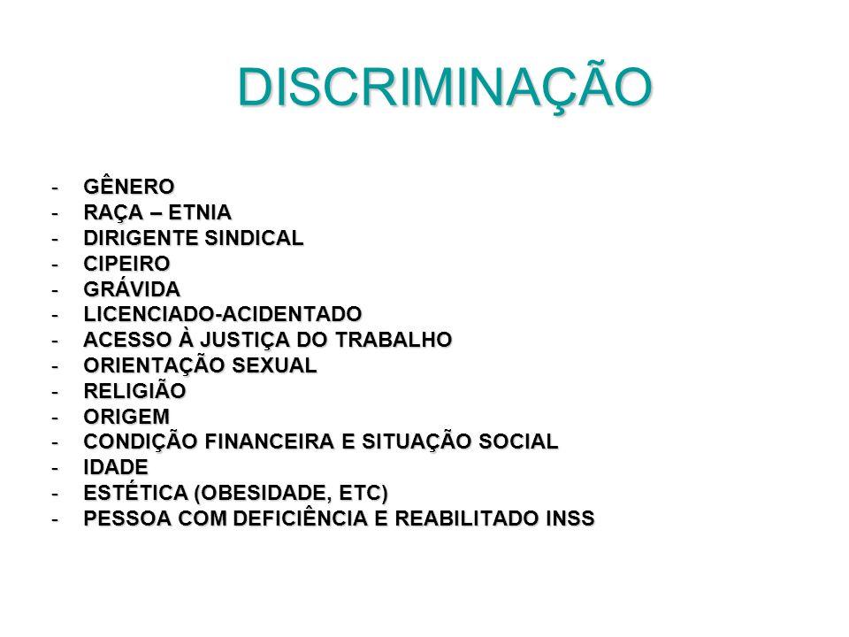 DISCRIMINAÇÃO DISCRIMINAÇÃO -GÊNERO -RAÇA – ETNIA -DIRIGENTE SINDICAL -CIPEIRO -GRÁVIDA -LICENCIADO-ACIDENTADO -ACESSO À JUSTIÇA DO TRABALHO -ORIENTAÇ