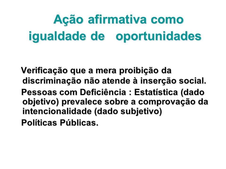 Ação afirmativa como Ação afirmativa como igualdade de oportunidades igualdade de oportunidades Verificação que a mera proibição da discriminação não