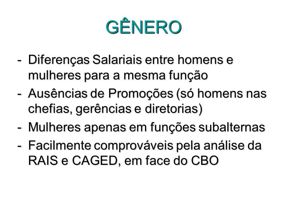 GÊNERO -Diferenças Salariais entre homens e mulheres para a mesma função -Ausências de Promoções (só homens nas chefias, gerências e diretorias) -Mulh