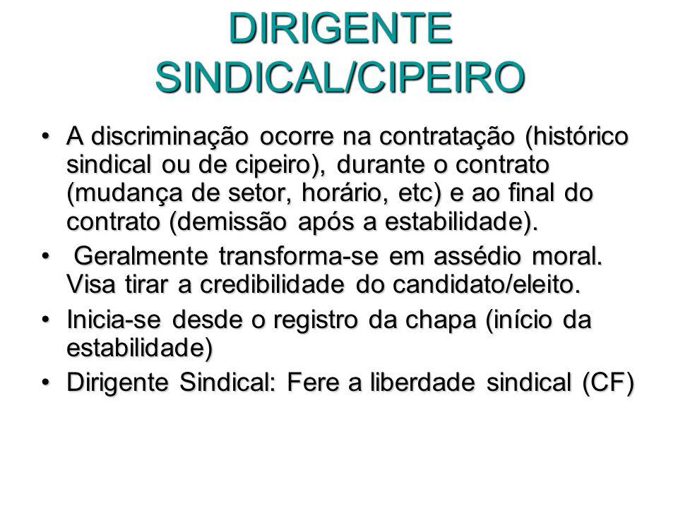 DIRIGENTE SINDICAL/CIPEIRO A discriminação ocorre na contratação (histórico sindical ou de cipeiro), durante o contrato (mudança de setor, horário, et