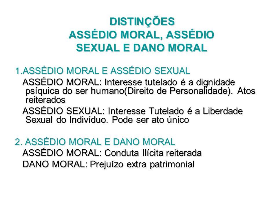 DISTINÇÕES DISTINÇÕES ASSÉDIO MORAL, ASSÉDIO ASSÉDIO MORAL, ASSÉDIO SEXUAL E DANO MORAL SEXUAL E DANO MORAL 1.ASSÉDIO MORAL E ASSÉDIO SEXUAL ASSÉDIO M