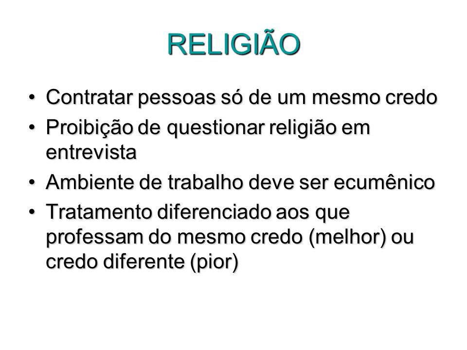 RELIGIÃO Contratar pessoas só de um mesmo credoContratar pessoas só de um mesmo credo Proibição de questionar religião em entrevistaProibição de quest