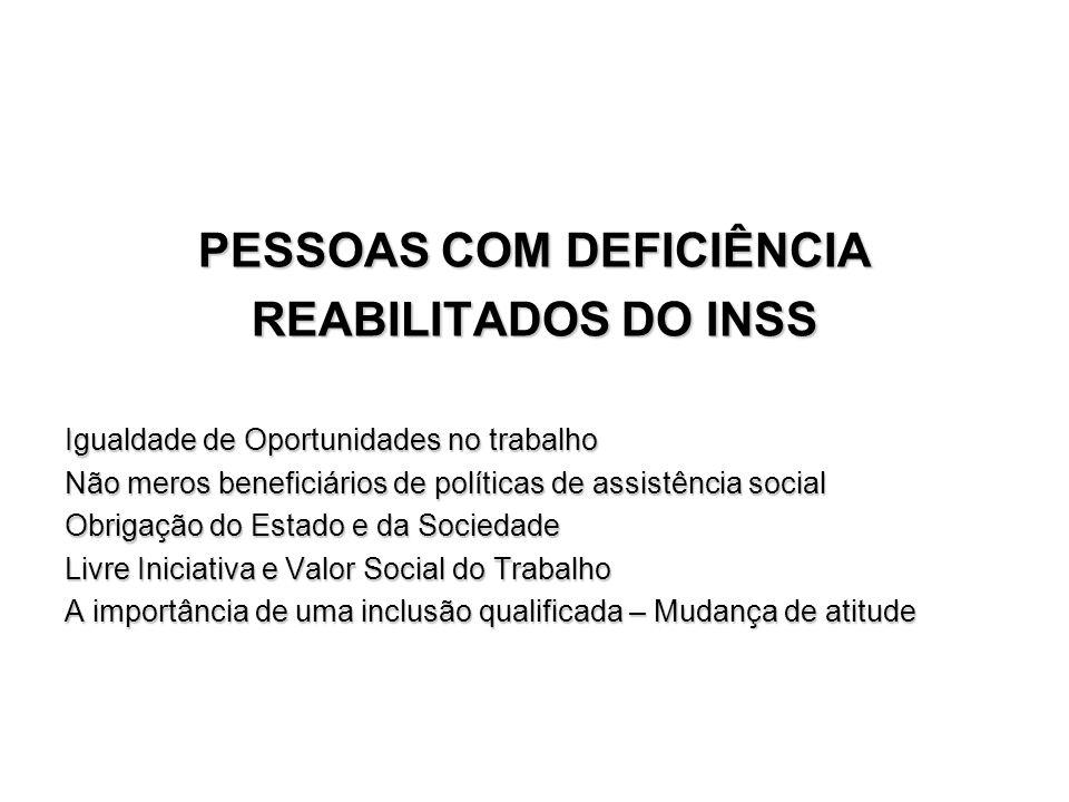 PESSOAS COM DEFICIÊNCIA REABILITADOS DO INSS Igualdade de Oportunidades no trabalho Não meros beneficiários de políticas de assistência social Obrigaç