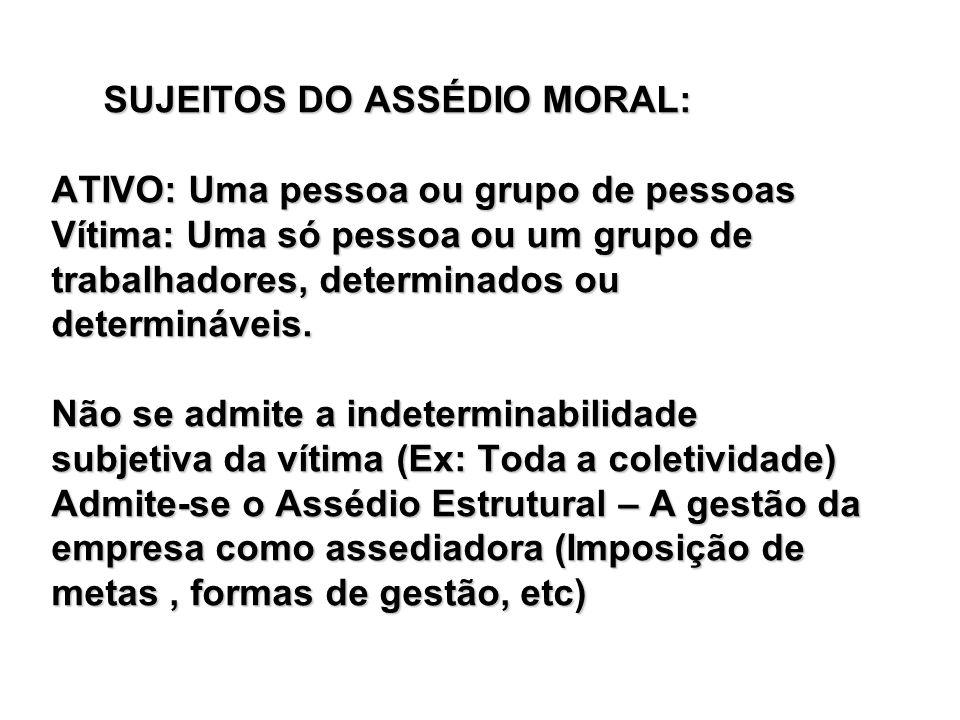SUJEITOS DO ASSÉDIO MORAL: SUJEITOS DO ASSÉDIO MORAL: ATIVO: Uma pessoa ou grupo de pessoas Vítima: Uma só pessoa ou um grupo de trabalhadores, determ