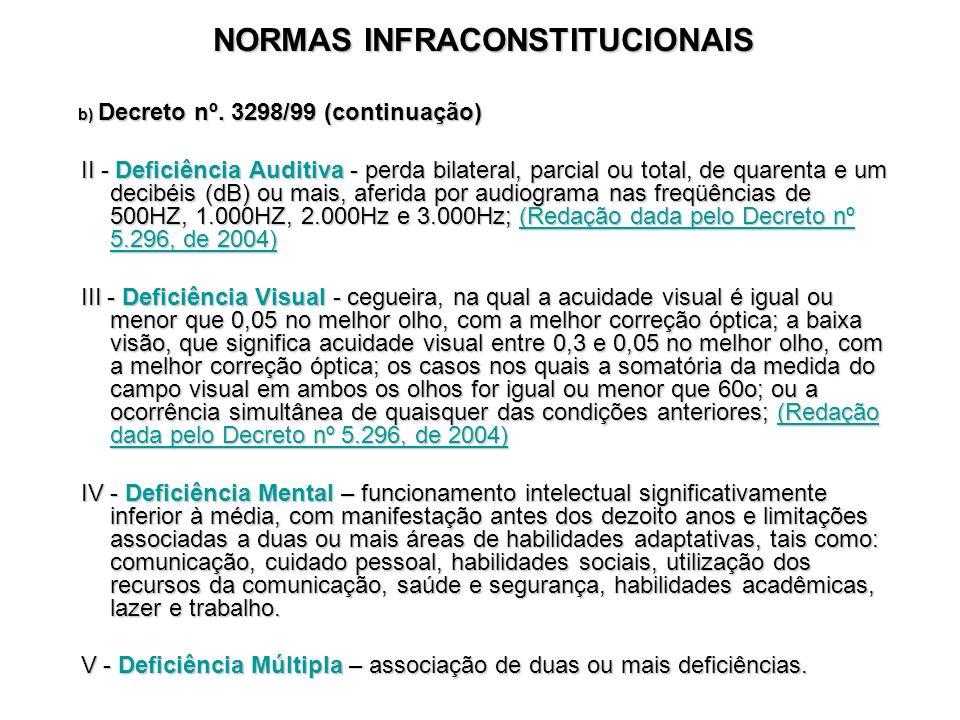 NORMAS INFRACONSTITUCIONAIS b) Decreto nº. 3298/99 (continuação) b) Decreto nº. 3298/99 (continuação) II - Deficiência Auditiva - perda bilateral, par