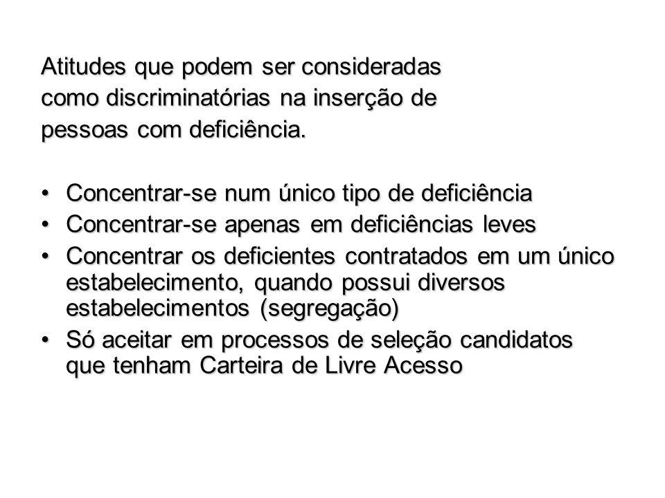 Atitudes que podem ser consideradas como discriminatórias na inserção de pessoas com deficiência. Concentrar-se num único tipo de deficiênciaConcentra