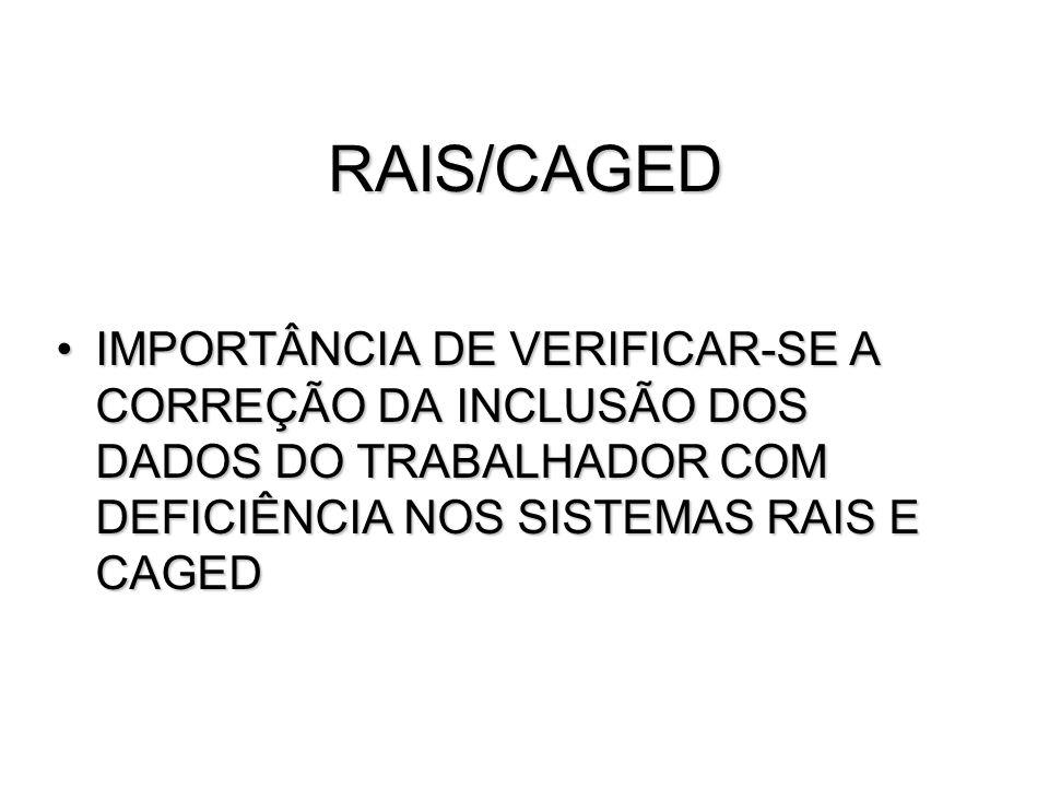 RAIS/CAGED IMPORTÂNCIA DE VERIFICAR-SE A CORREÇÃO DA INCLUSÃO DOS DADOS DO TRABALHADOR COM DEFICIÊNCIA NOS SISTEMAS RAIS E CAGEDIMPORTÂNCIA DE VERIFIC