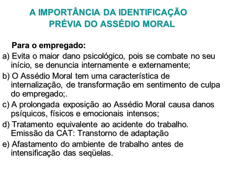 A IMPORTÂNCIA DA IDENTIFICAÇÃO A IMPORTÂNCIA DA IDENTIFICAÇÃO PRÉVIA DO ASSÉDIO MORAL PRÉVIA DO ASSÉDIO MORAL Para o empregado: Para o empregado: a) E