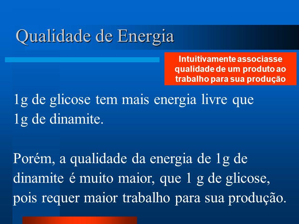 Qualidade de Energia 1g de glicose tem mais energia livre que 1g de dinamite. Porém, a qualidade da energia de 1g de dinamite é muito maior, que 1 g d