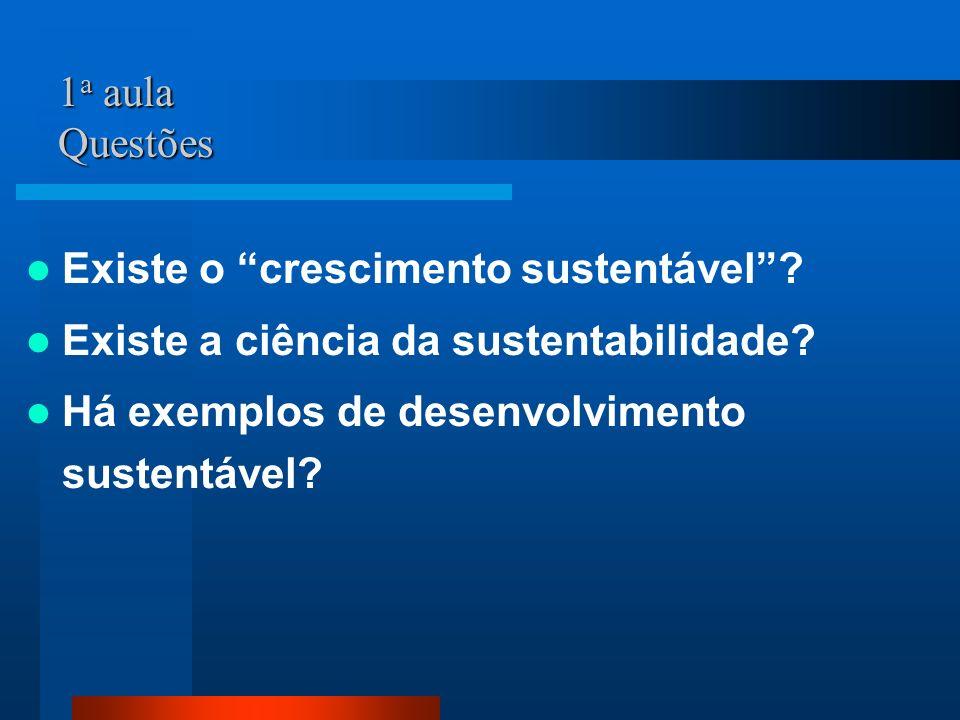1 a aula Questões Existe o crescimento sustentável? Existe a ciência da sustentabilidade? Há exemplos de desenvolvimento sustentável?