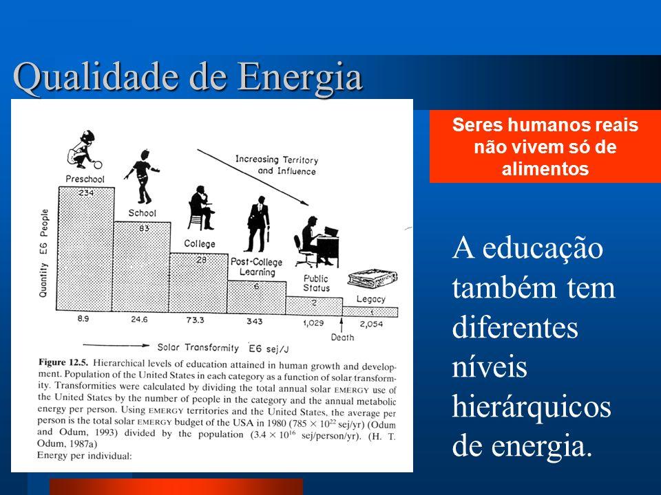 Qualidade de Energia A educação também tem diferentes níveis hierárquicos de energia. Seres humanos reais não vivem só de alimentos
