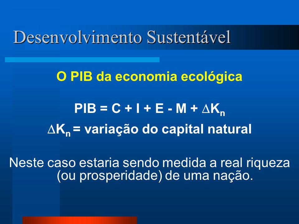 Desenvolvimento Sustentável O PIB da economia ecológica PIB = C + I + E - M + K n K n = variação do capital natural Neste caso estaria sendo medida a