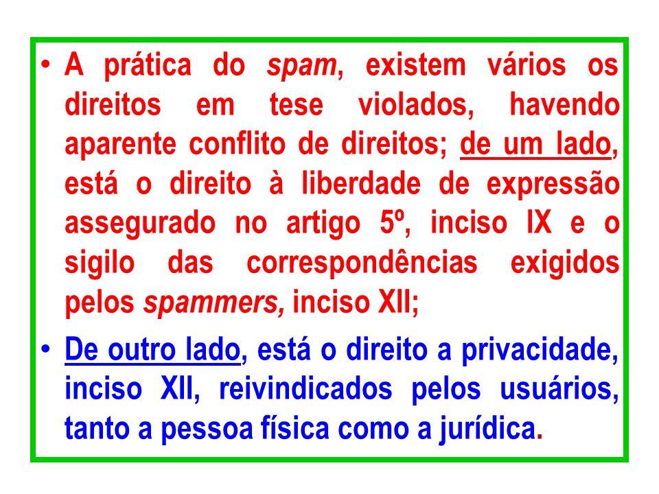 A prática do spam, existem vários os direitos em tese violados, havendo aparente conflito de direitos; de um lado, está o direito à liberdade de expre
