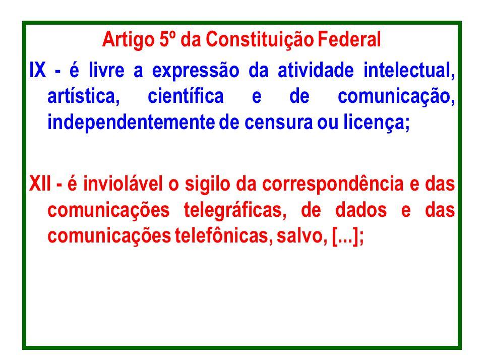 Artigo 5º da Constituição Federal IX - é livre a expressão da atividade intelectual, artística, científica e de comunicação, independentemente de cens
