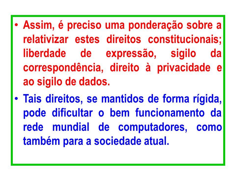Assim, é preciso uma ponderação sobre a relativizar estes direitos constitucionais; liberdade de expressão, sigilo da correspondência, direito à priva