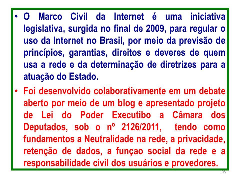 O Marco Civil da Internet é uma iniciativa legislativa, surgida no final de 2009, para regular o uso da Internet no Brasil, por meio da previsão de pr