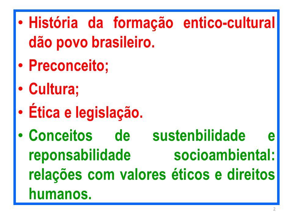 História da formação entico-cultural dão povo brasileiro. Preconceito; Cultura; Ética e legislação. Conceitos de sustenbilidade e reponsabilidade soci
