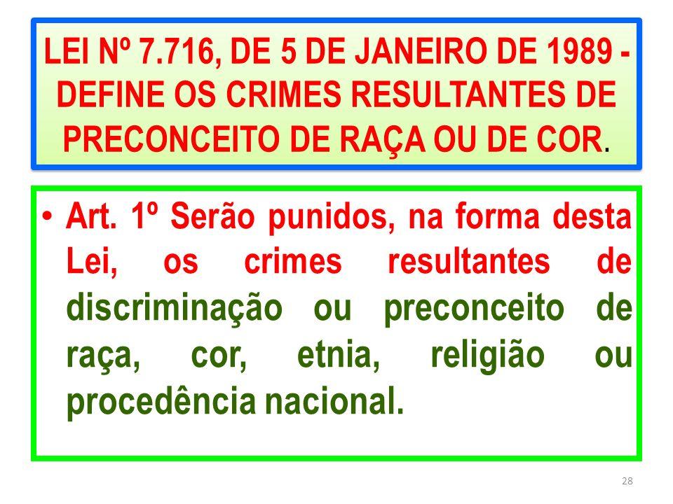 LEI Nº 7.716, DE 5 DE JANEIRO DE 1989 - DEFINE OS CRIMES RESULTANTES DE PRECONCEITO DE RAÇA OU DE COR. Art. 1º Serão punidos, na forma desta Lei, os c