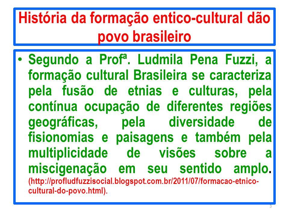 História da formação entico-cultural dão povo brasileiro Segundo a Profª. Ludmila Pena Fuzzi, a formação cultural Brasileira se caracteriza pela fusão